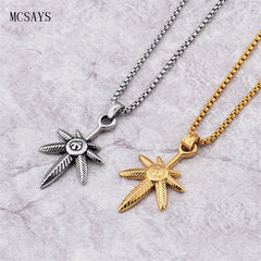 MCSAYS Stainless Steel Punk Necklace Weed Leaf Hemp Leaf 420 Pendant Sliver/Gold Color Necklace Jewelry Dope Gift 3GM - 420 Weed Mart