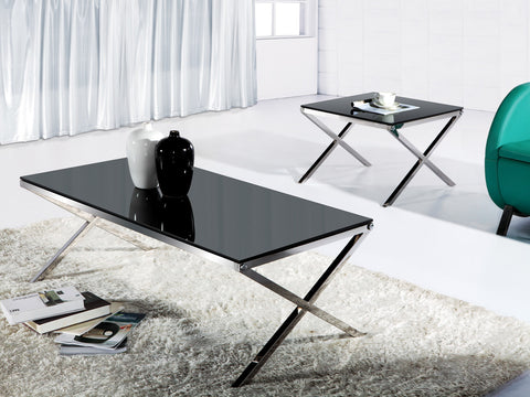 Coffee Table with Tempered Glass & Chrome Base