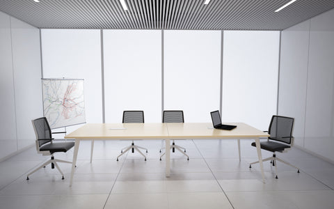 Boardroom Table with White Metal Legs