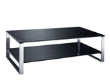 Coffee Table with Double Tempered Glass & Chrome Frame