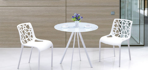 White Tempered Glass Round Table