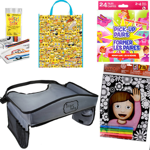 Kid's Emoji Travel Tray Activity Kit with Princess and Unicorn Activities