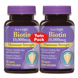 2 * Natrol - Biotin Maximum Strength 10000 mcg. - 200 Tablets ( Pack of Two )