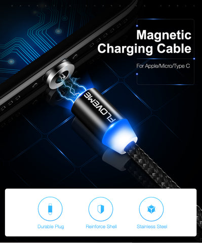 Magnetic iPhone Cable For Lightning iPhone Charging Nylon Braided LED Magnet Charger Cable USB-C