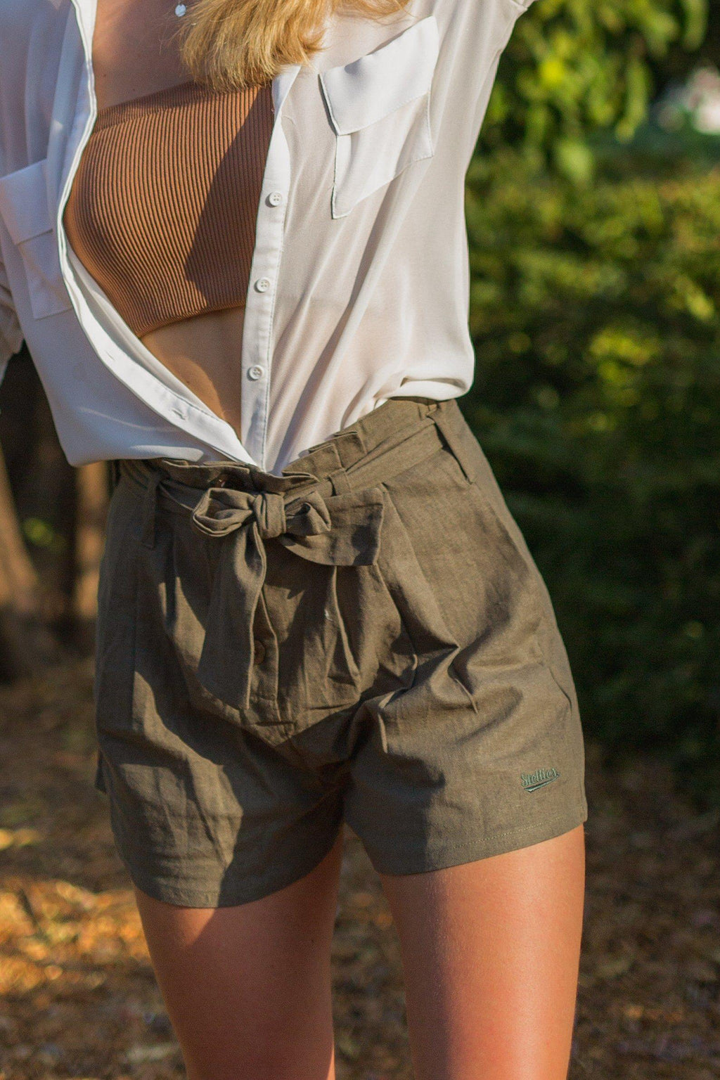The Paperbag Shorts in Sage - Stellies Authentic Clothing