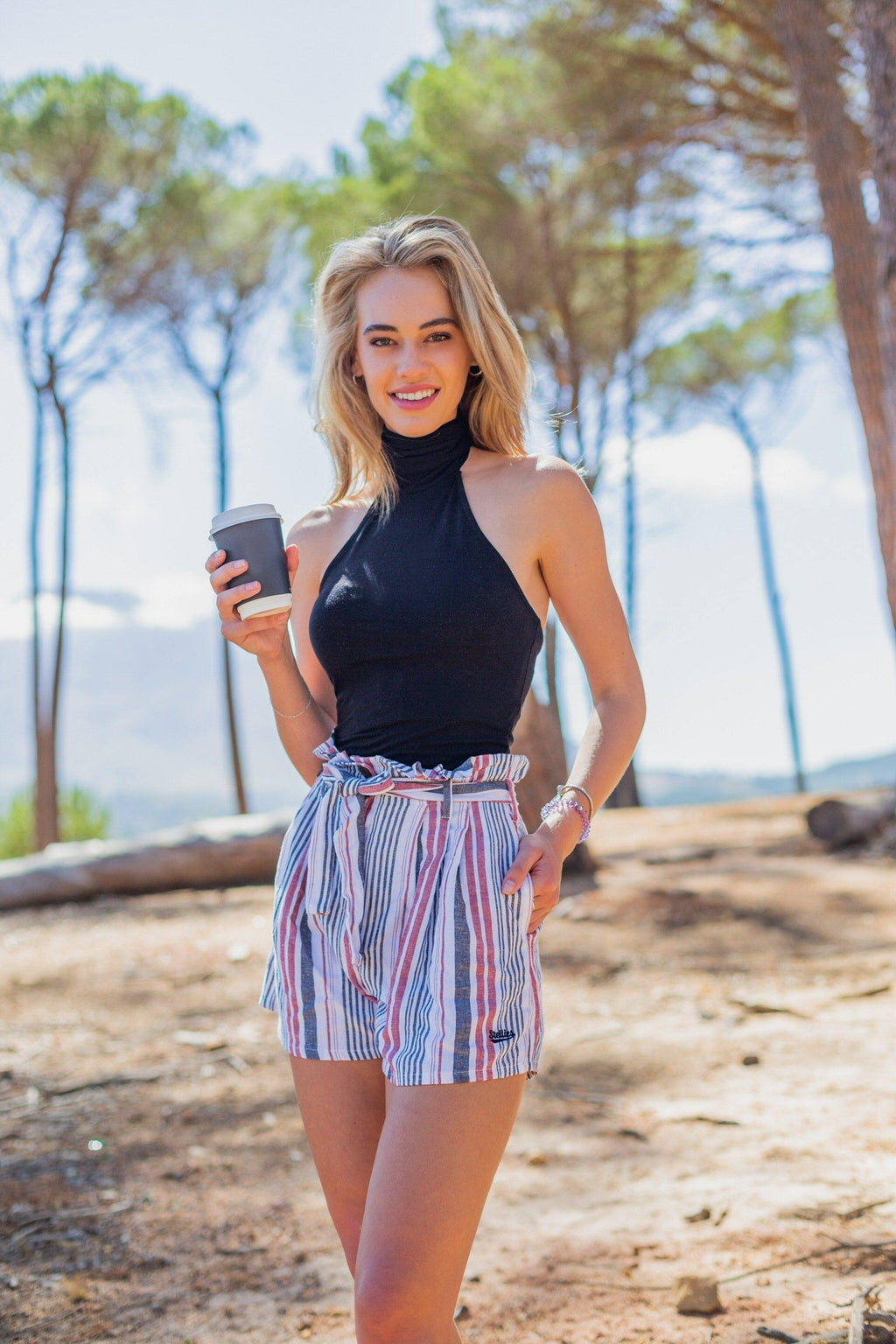 Vertical Striped Paperbag Shorts