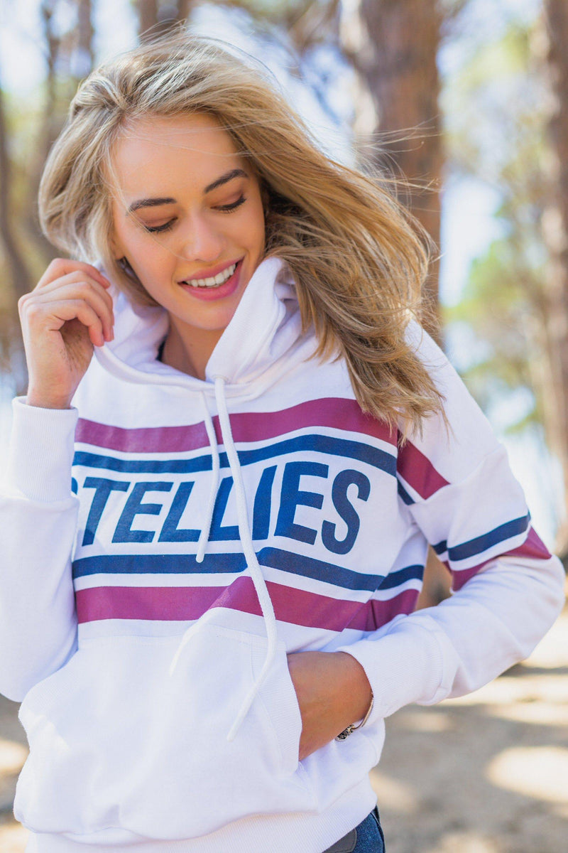 The Striped Fleece Hoodie In White - Stellies Authentic Clothing