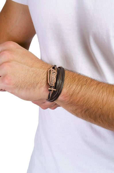 Dark Brown Leather Wrist-Wrap with Antique Copper Stellies