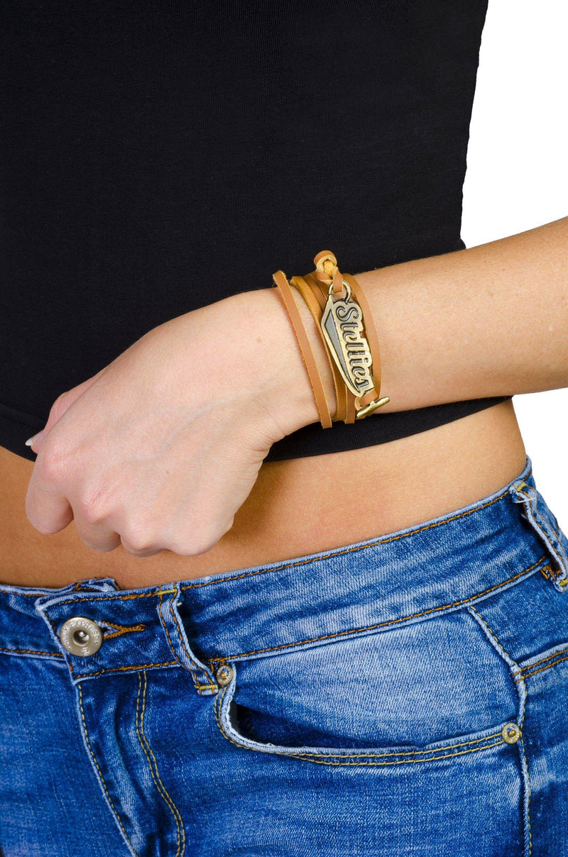 Tan Leather Wrist-Wrap Gold