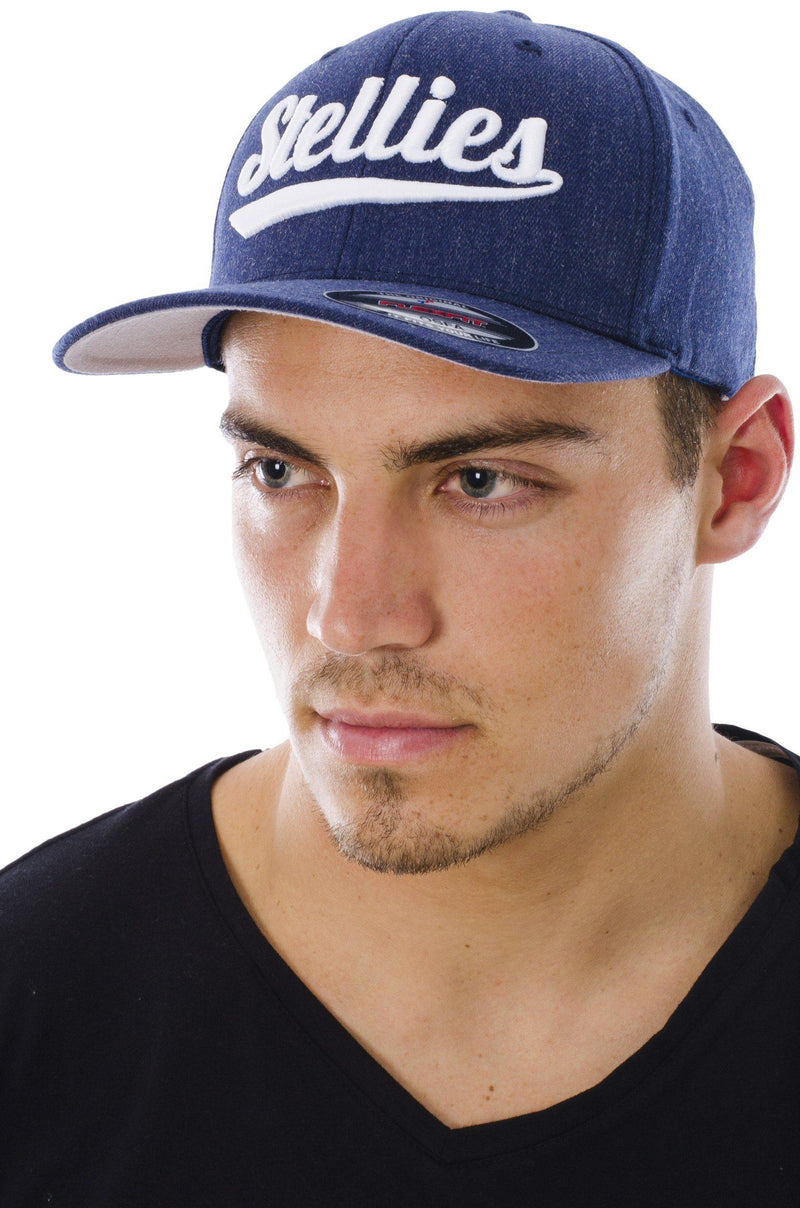 Curved Peak Cap in Navy and White