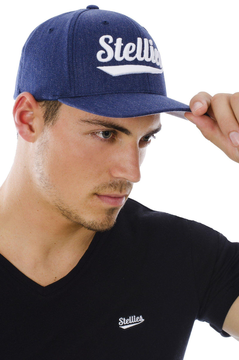 The Curved Peak Cap in Navy and White