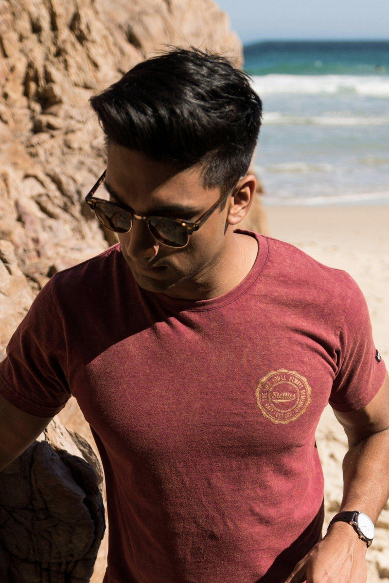 Acid-Washed Burgundy and Bronze Back Print Tee