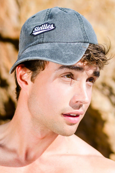 Stone-Washed Dad Cap in Black