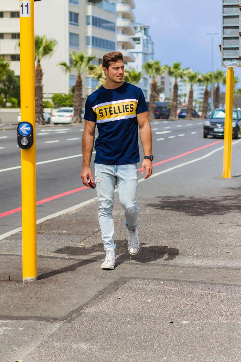 Collegiate Tee in Navy & Yellow