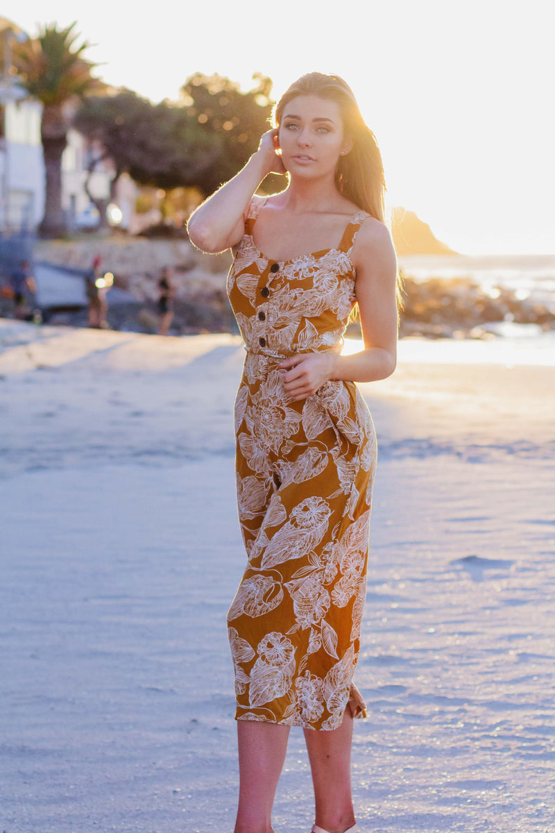Jumpsuit in Yellow Florals