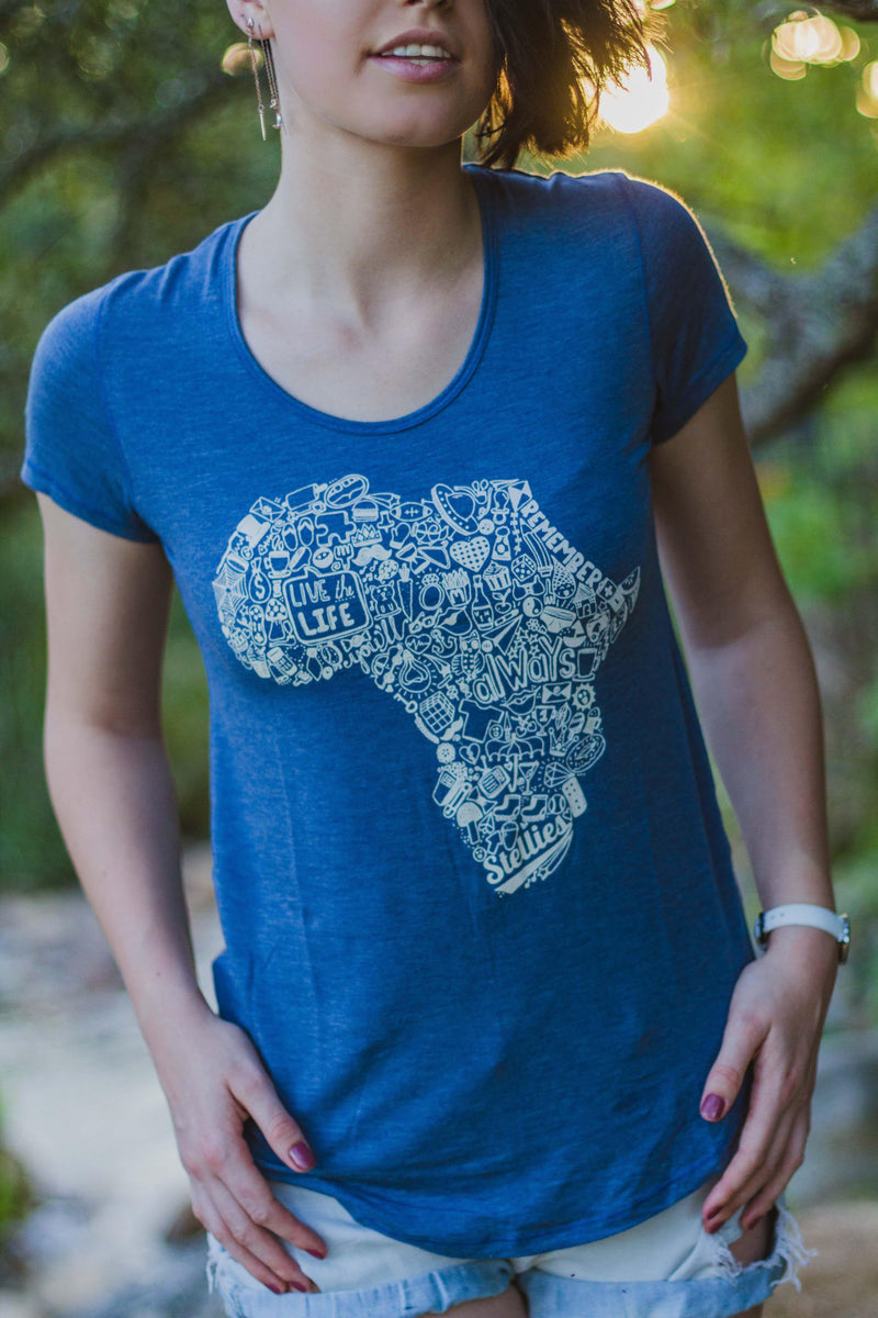 Ladies Indigo Africa Doodle Basic Tee - Stellies Authentic Clothing