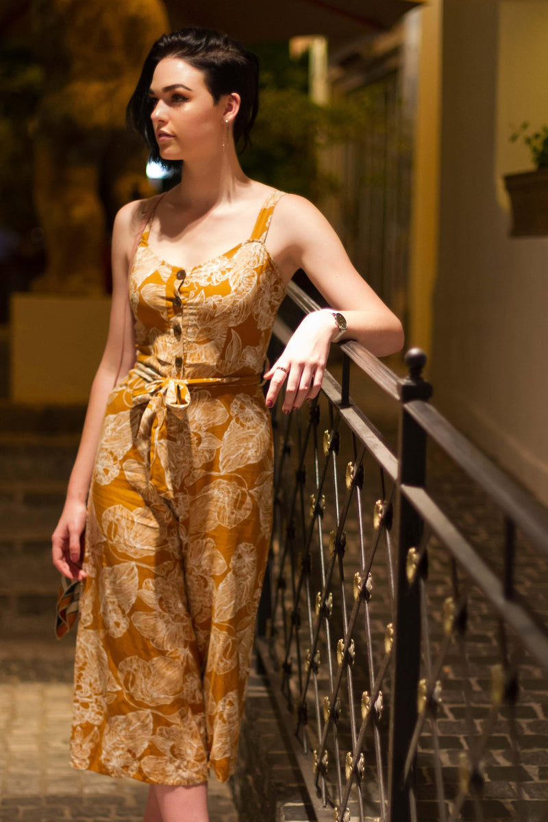 The Jumpsuit in Mustard Florals