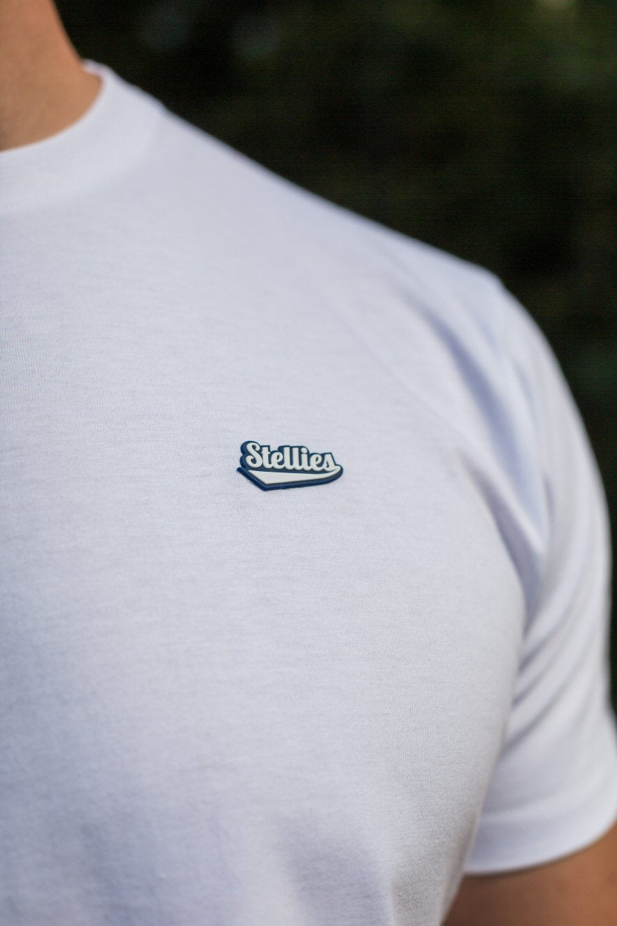 Core Tee in White & Navy