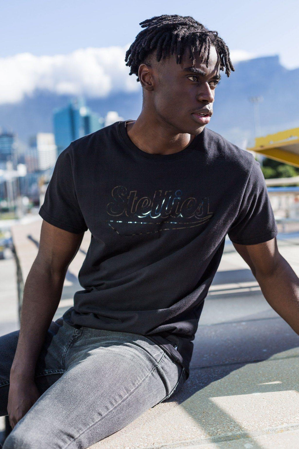 Shadow Crew-Neck Tee In Solid Black - Stellies Authentic Clothing