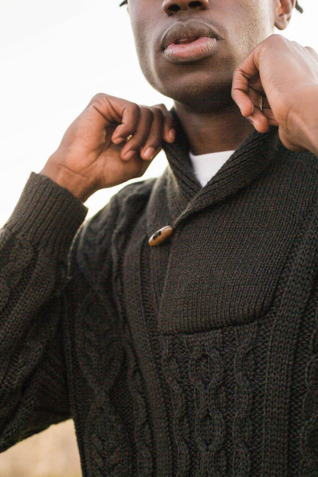 PRE-ORDER: The Cable Knit Shawl-Neck Pullover - Stellies Authentic Clothing