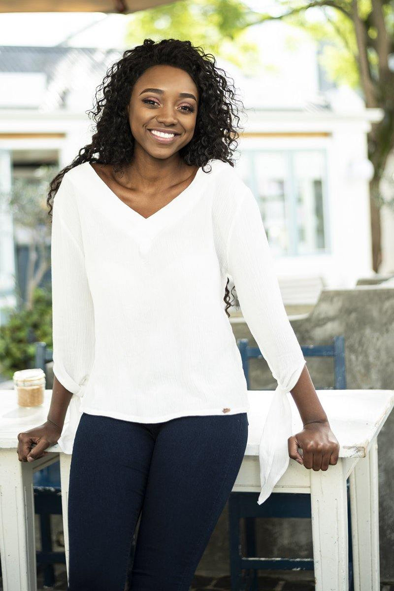 Reversible V Top in White - Stellies Authentic Clothing