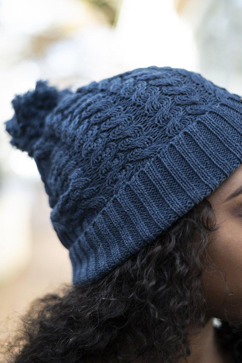 Indigo Cable Knit Beanie - Stellies Authentic Clothing