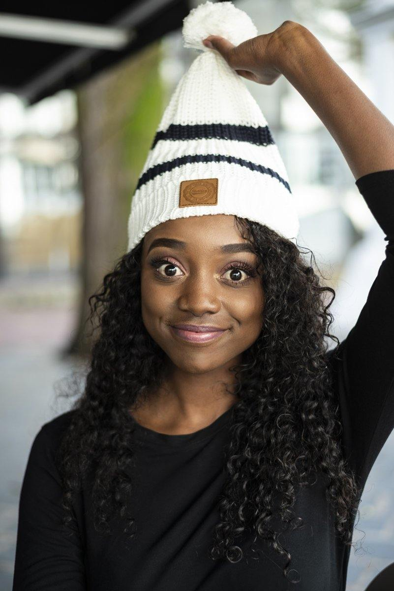 Cream & Navy Striped Beanie - Stellies Authentic Clothing