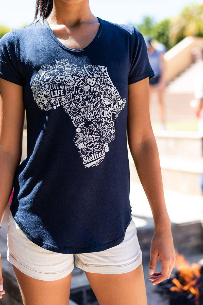 Navy Africa Doodle Basic Tee