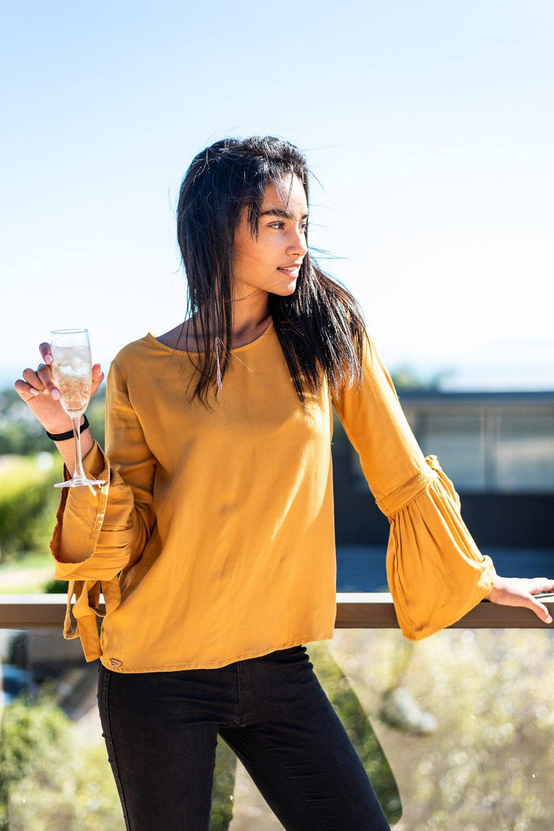 Bell Sleeve Top in Marigold - Stellies Authentic Clothing
