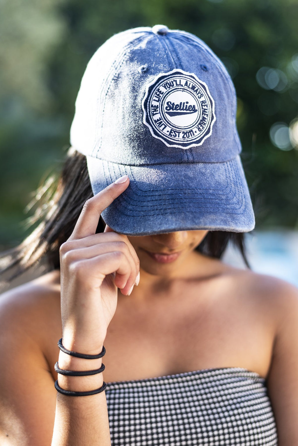 Stone-Washed Dad Cap in Denim Blue
