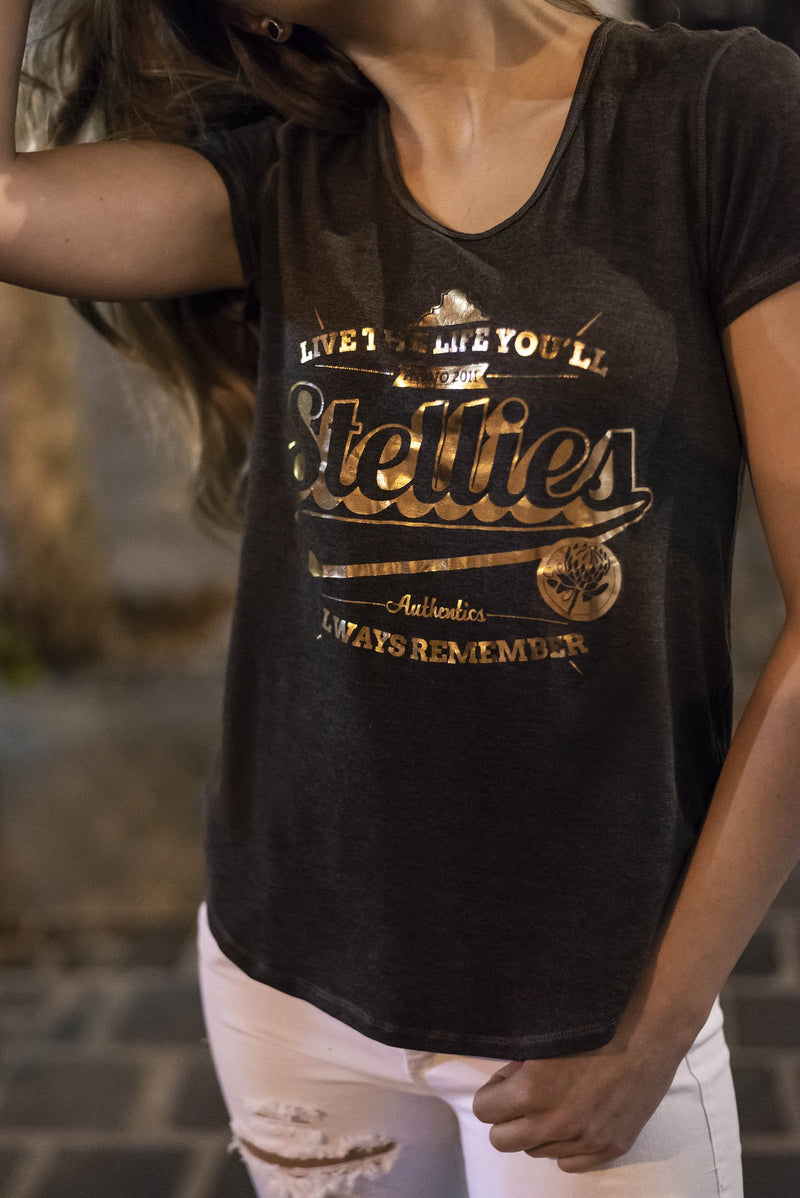 The Metallic Rose-Gold & Charcoal Basic Tee
