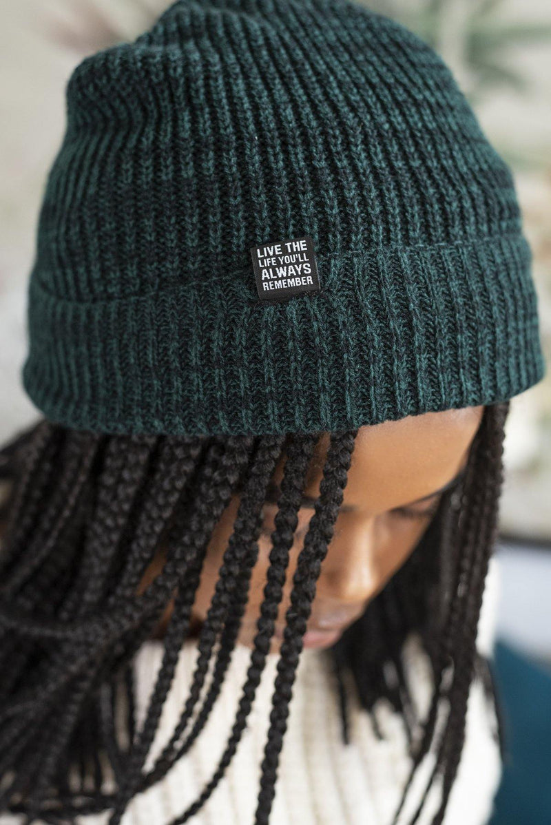 Baggy Fold-Over Marled Yarn Beanie in Green