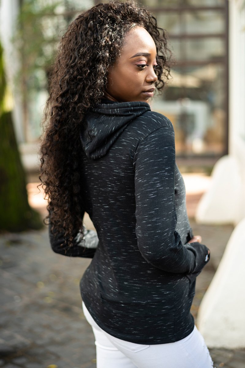 Ladies Space Black Ultralight Hoodie