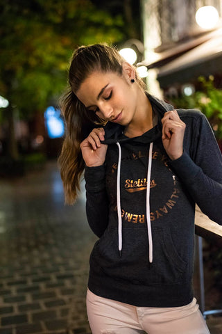 Ladies Indigo Ultralight Hoodie with Rose Gold