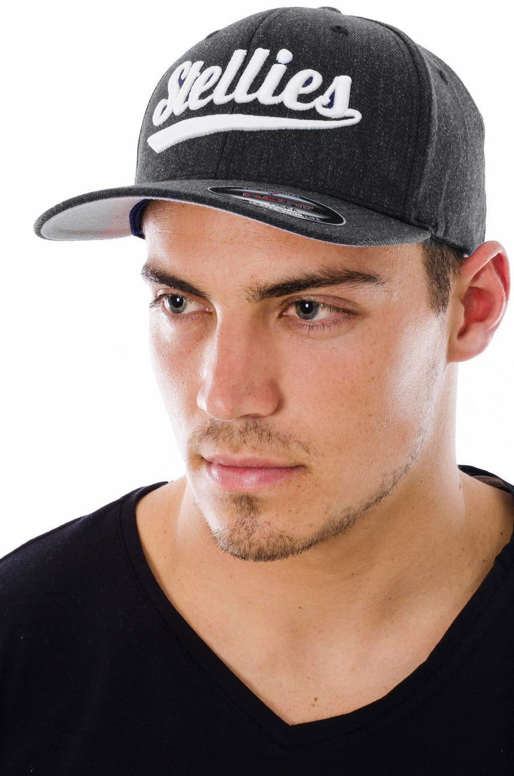 Curved Peak Cap in Charcoal and Silver