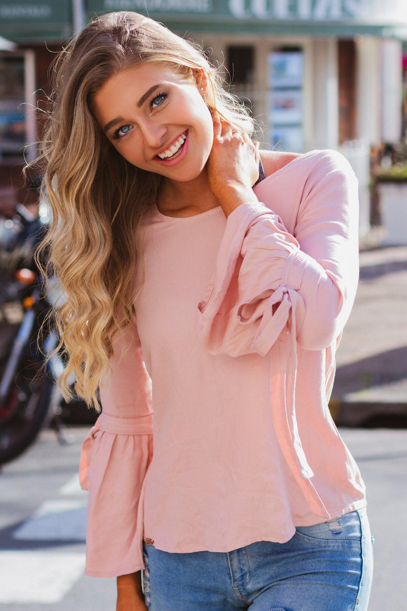 Bell Sleeve Top in Dusty Rose - Stellies Authentic Clothing