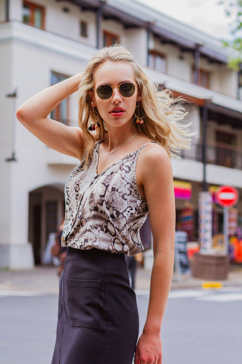 Button Cami in Snakeskin