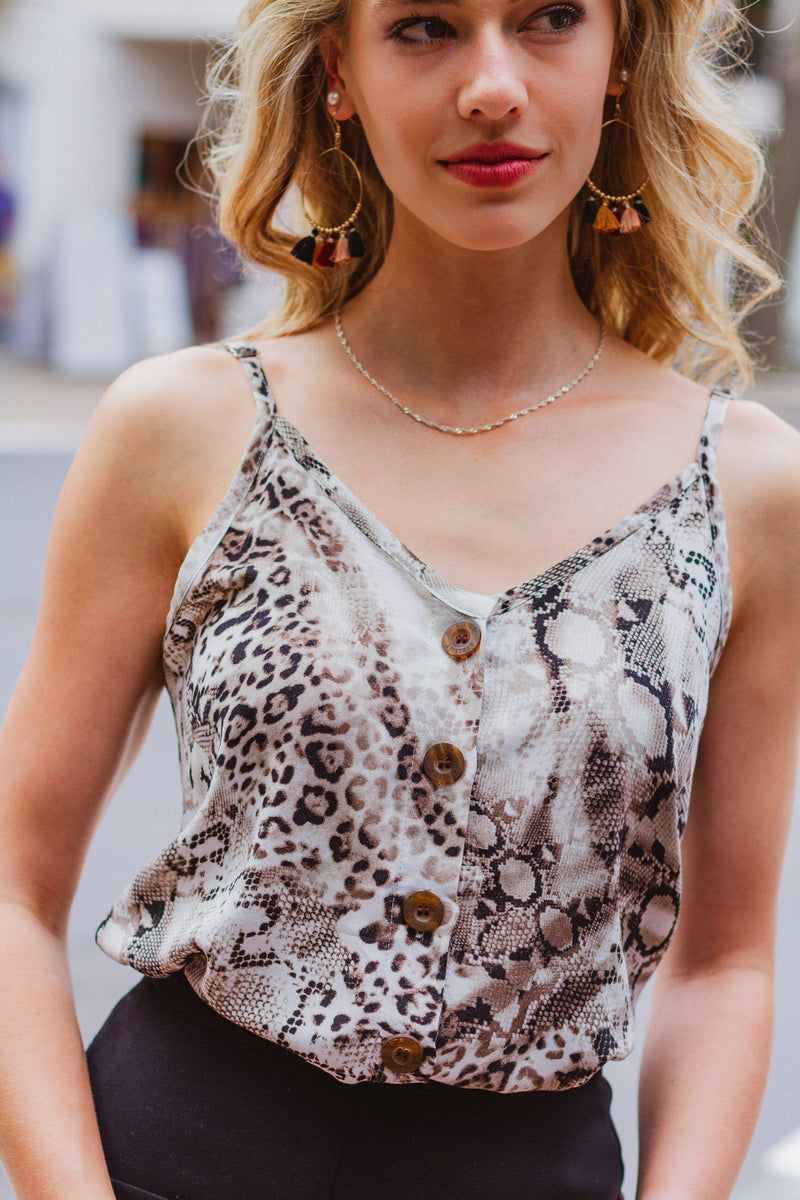 Button Cami in Snakeskin - Stellies Authentic Clothing