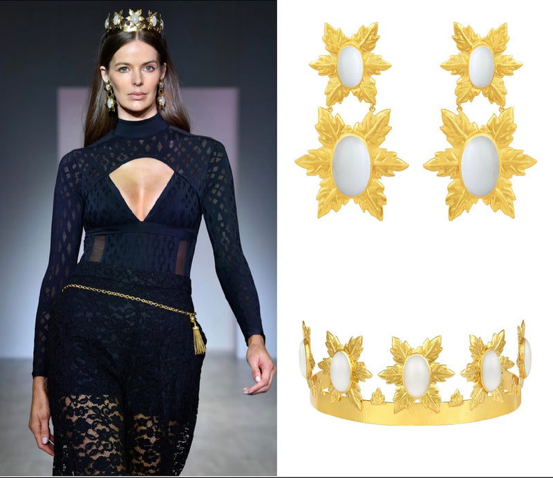 Model Robyn Lawley Walks MBFW Runway Wearing Florentina Crown and Earrings