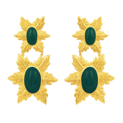 Florentina Earrings Green Onyx and 24kt Gold Plate