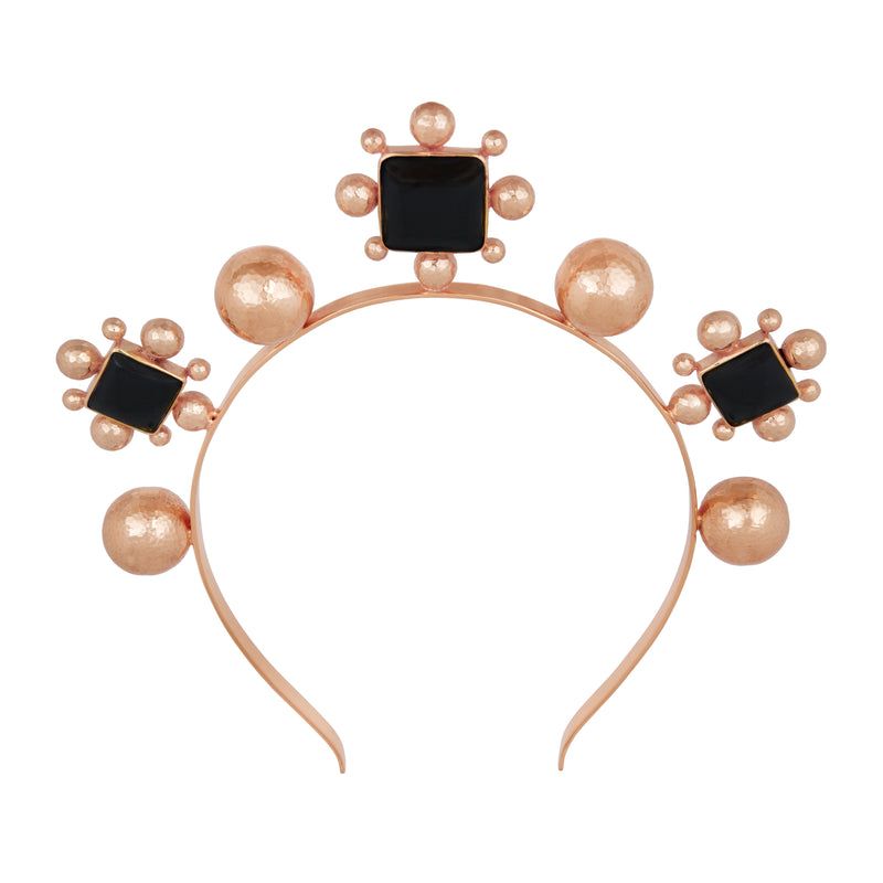 Catarina Crown - Rose Gold - Black Onyx - Angelina Alvarez
