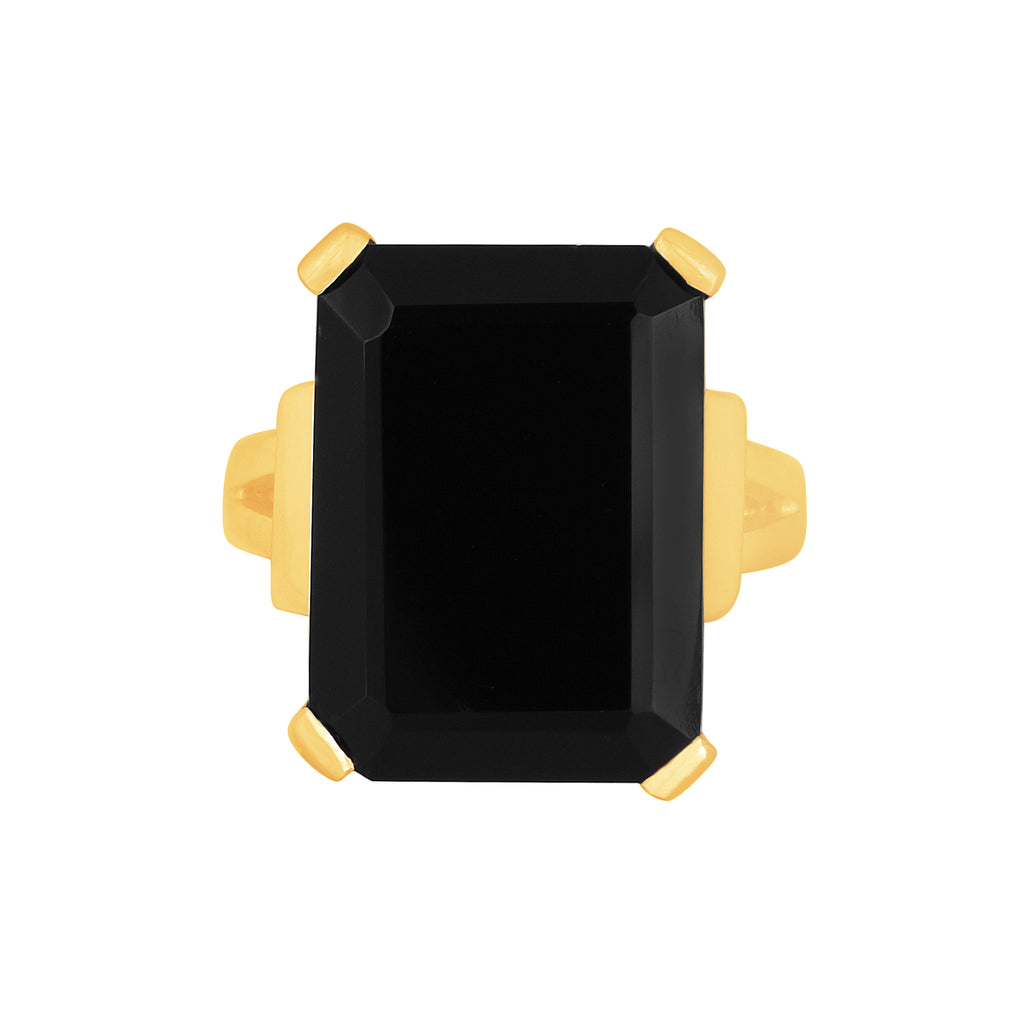 Tiffany Ring - 24k Gold - Black Onyx - Angelina Alvarez