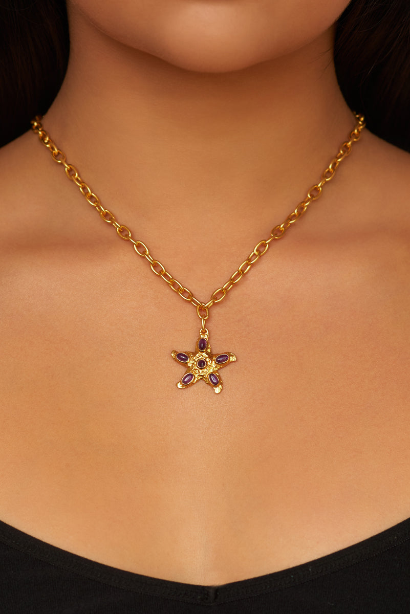 Alana Necklace - 24k Gold - Amethyst - Angelina Alvarez