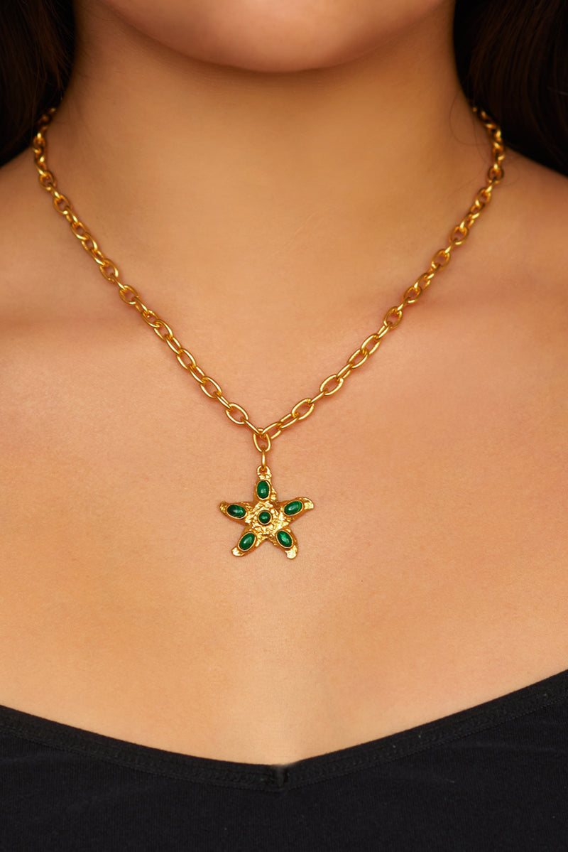 Alana Necklace - 24k Gold - Malachite - Angelina Alvarez