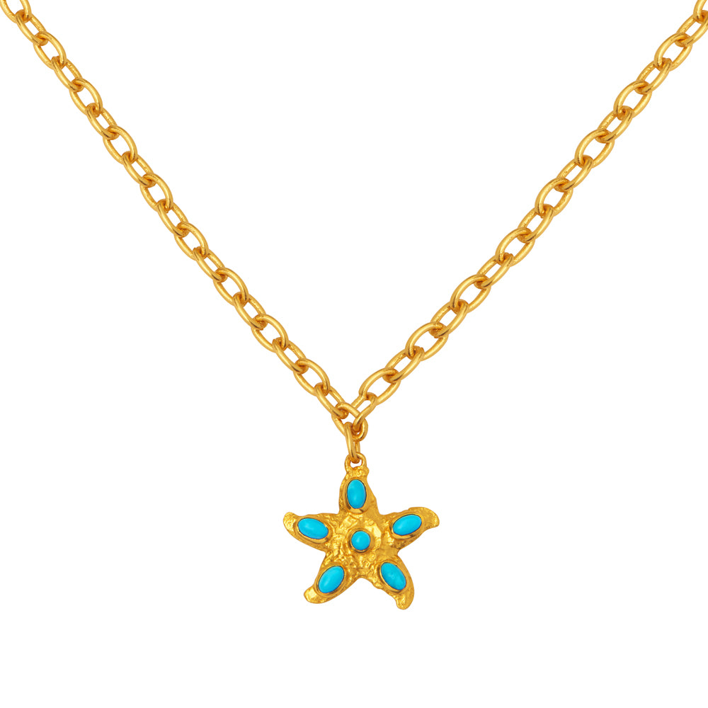 Alana Necklace - 24k Gold - Turquoise - Angelina Alvarez