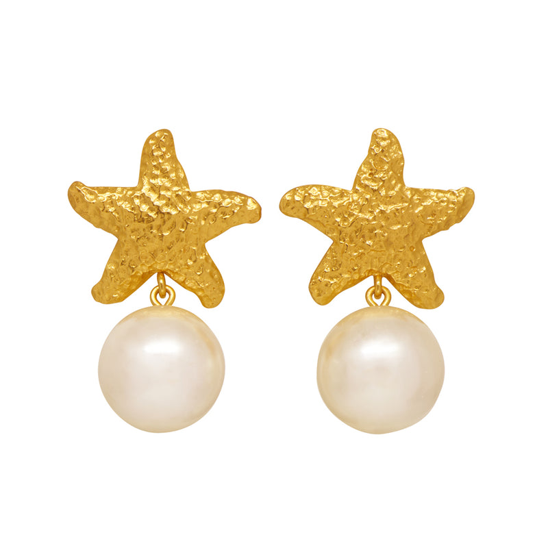 Alessandra Earrings- 24k Gold - Pearl - Angelina Alvarez