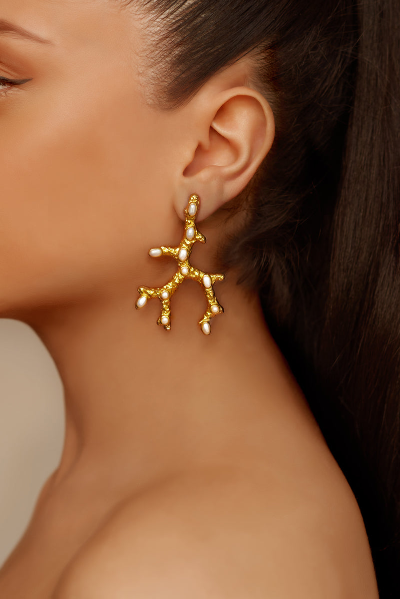 Aquata Earrings - 24k Gold - Pearl - Angelina Alvarez