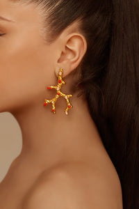 Aquata Earrings - 24k Gold - Rose Quartz & Coral - Angelina Alvarez