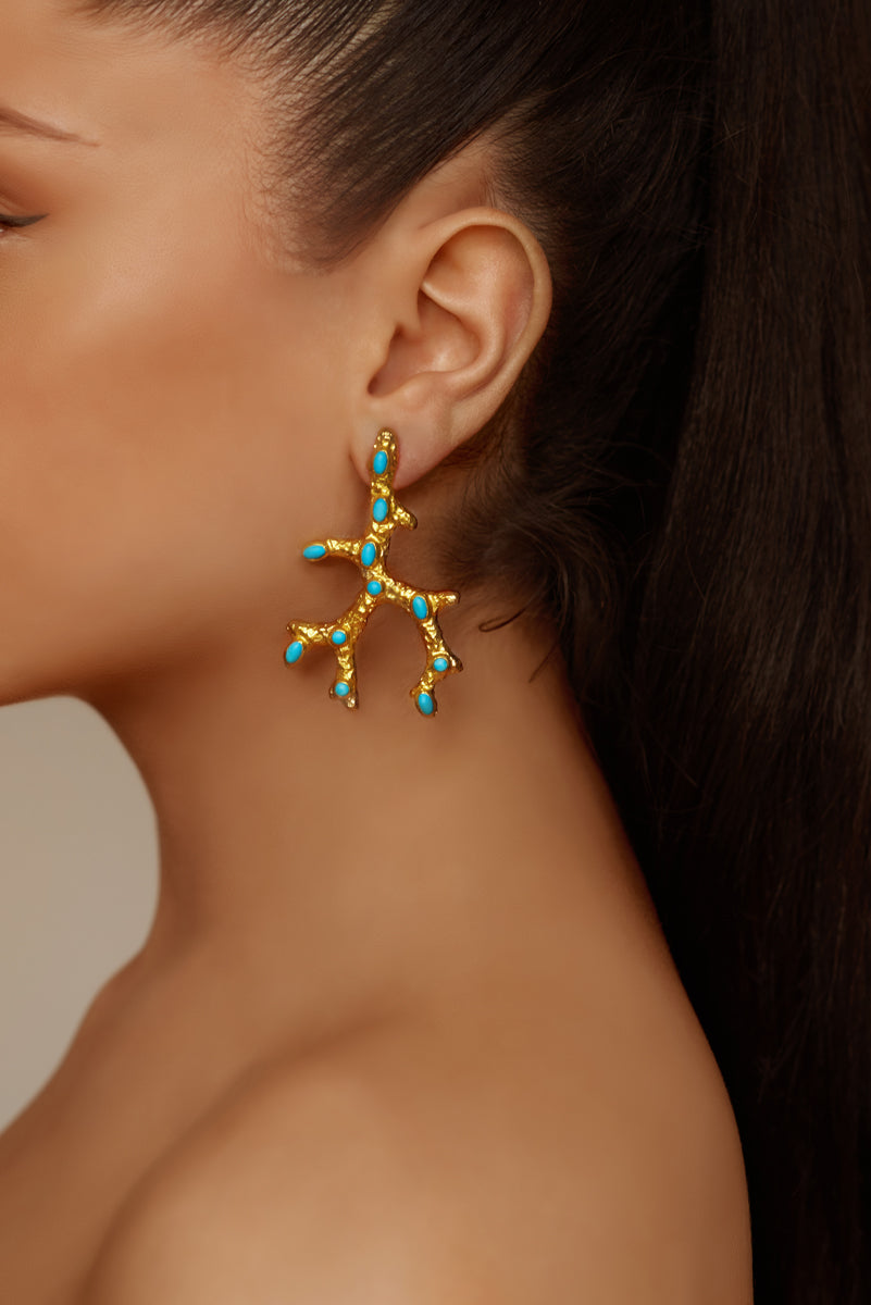 Aquata Earrings - 24k Gold - Turquoise - Angelina Alvarez