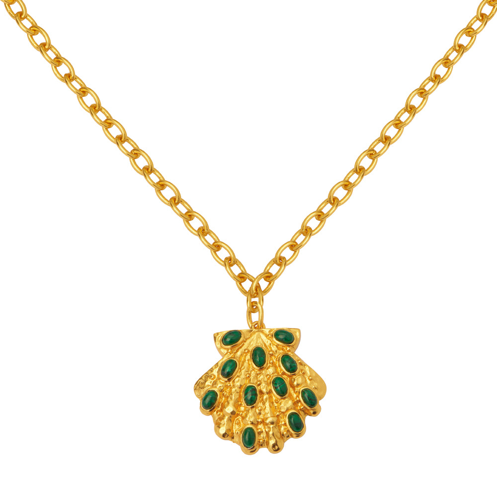 Aquatic Necklace - 24k Gold - Malachite - Angelina Alvarez